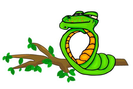 Green snake isolated on white background. Funny snake looking dreamy on a tree branch. Fun zoo graphics to design. Viper snake mascot animal cartoon character. Stock vector illustration. EPS 10