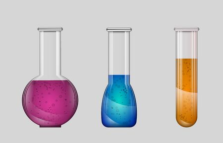 Set realistic laboratory glassware isolated on gray background. Lab tube, beaker and flask filled different colors liquids. Collection equipment for chemical test or experiments. Stock vector Vecteurs