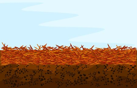 Red mulch background with copy space. Landscape design color mulch. Red mulch used for gardening and landscape decoration. Bright mulch for flower beds using natural pine bark. Stock vector illustration Vettoriali