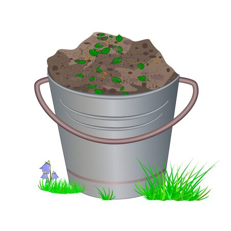 Metallic bucket with ground or fertilizers isolated on white background. Bucket with earth and compost in grass for planting. Zero waste theme. Hill of brown substrate. Eco farming. Stock vector illustration Vettoriali