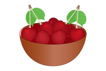 Cherry. Bowl of delicious juicy cherries isolated on white background. Big pile of fresh red cherries in the brown bowl. Kitchenware design element. Bountiful harvest. Full plate of beautiful juicy berries. Stock vector illustration