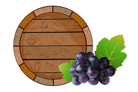 Wooden barrel and grapes isolated on white background. Winemaking label, craft ads, pub menu template. Wooden cask for alcohol drinks emblems, package, label or icon. Winery storage element. Stock vector illustration