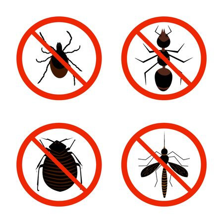 Harmful insects set icon isolated on white background. Collection of red warning signs and symbols with of pests, tick, ant, fleas and mosquito. Insect repellent or pest control emblem. Stock vector illustration Vector Illustration