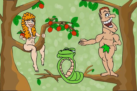 Adam and Eve. Woman offer apple to man. Cartoon Adam and Eve with sin apple in the garden of eden. First people and bible serpent. Happy couple in paradise with the forbidden apple. Stock vector illustration