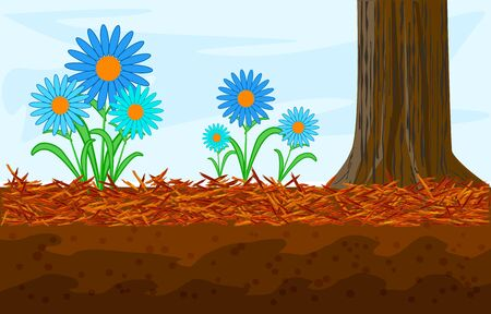 Mulch gardening concept with daisy, red mulch and tree trunk. Landscape design mulch. Mulches and mulching for decorative finish, soil protection. Woody waste using as a mulch. Stock vector illustration