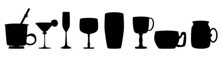 Set of black silhouettes alcohol glasses and cups for different drinks isolated on white background. For cocktail bar, restaurant banner, party poster, sale advertising, infographic. Stock vector illustration