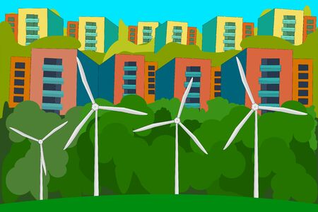 Wind power plant and city. Wind turbines. Green energy concept. Renewable energy for ecology and environment conservation concept. World environment day. Eco friendly city landscape background. Stock vector illustration Ilustrace