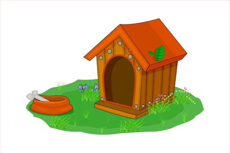 Doghouse isolated on white background. Wood guards house in the backyard. Empty dog kennel with with dog food bowl of bone, grass and flower surrounding. Cartoon style. House for domestic animal pet. Stock vector illustration