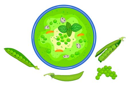 Bowl of the green peas soup isolated on white background. Tasty hot vegetable soup with vegetable and mushroom in plate and open pea pods near. Summer cream soup top view. Stock vector illustration