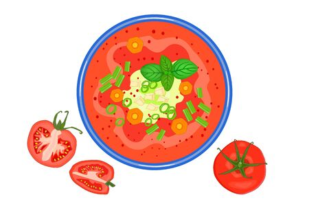 Tomato soup isolated on white background. Hot vegetable soup in plate and tomato slices near. Tomato soup with basil, green onion and croutons. Summer or autumn cream soup or gazpacho top view. Stock vector illustration Vettoriali