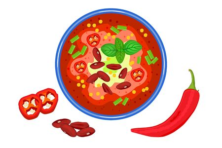 Chilli soup isolated on white background. Spicy meat stew with bean in a bowl. Paprika gazpacho. Mexican food. Delicious creamy soup in plate top view. Hot vegetable soup in plate and pepper slices near. Stock vector illustration Archivio Fotografico - 147796900