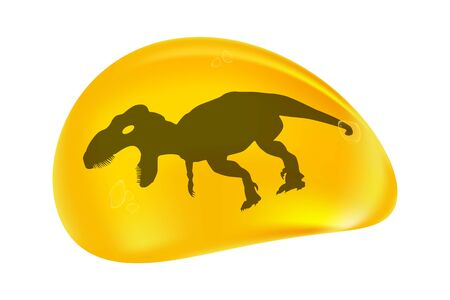 Dinosaur in a drop of amber isolated on white background.