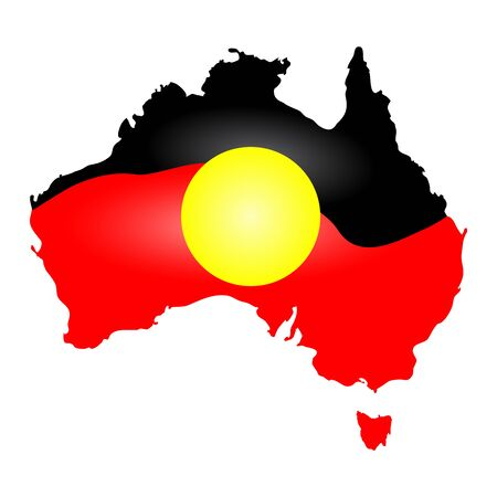 Australia Aboriginal flag, map, continent isolated on white background.