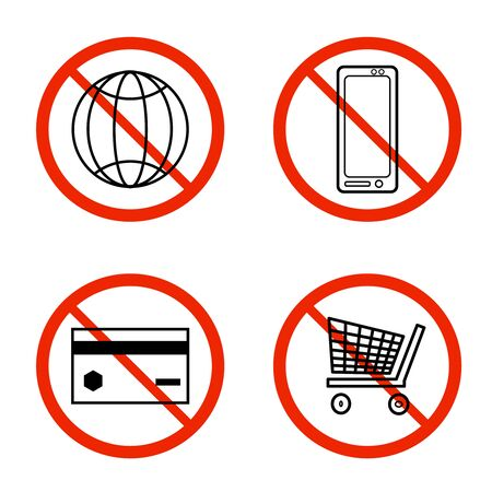 Set of prohibition forbidden red signs isolated on white background. No connection internet. No mobile phone. No credit card payment. No online shopping. Stop symbol collection. Stock vector illustration Vectores