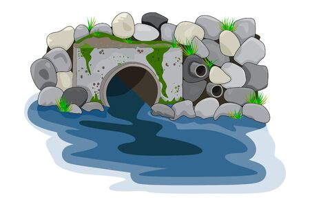 Wastewater. Water pollution from industrial pipe. Wastewater discharge from plant. Plant wastewater emissions into river. Environmental pollution. Ecological disaster, dirty toxic effluents, environmental pollution, sewage and drainage toxins dirty water, pond contamination. Vector