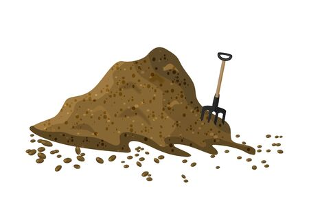 Pile of soil isolated on white background. Hayfork in a pile of substrate. Heap of ground, humus, fertilizer, compost. Hill of earth or dirt. Bunch of manure, organic garbage. Illustration of landscape, nature, farming. Zero waste. Colored flat icon, cartoon design. Stock vector Vettoriali