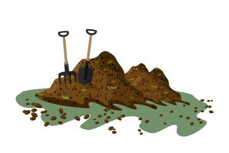 Tas de terre isolé sur fond blanc. Fourche à foin et pelle dans un tas de terre. Tas de substrat, humus, engrais, compost. Colline de terre ou de terre. Tas de fumier. Paysage, nature, agriculture. Zero gaspillage. Vecteur d'actions