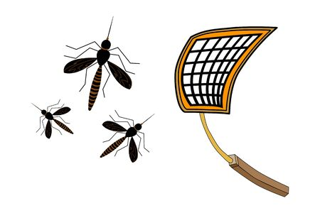 Fly swatter with mosquitos isolated on white background. Tool for destruction of insects at home. Yellow palette to kill mosquitoes. Insect pest trap. Plastic palette trapping insects net racket. Stock vector illustration Vectores