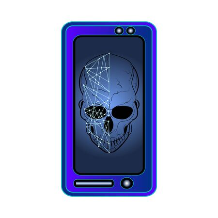 Skull on screen isolated on white background. Hacking face recognition technological system. Virus in smartphone. Cyber attack on phone. Blocked gadget does not work. Concept of face scanning. Stock vector illustration Ilustração