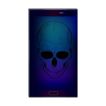 Skull on screen isolated on white background. Hacking face recognition technological system. Virus in smartphone. Cyber attack on phone. Blocked gadget does not work. Concept for online piracy. Stock vector illustration