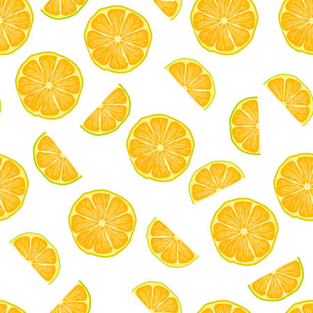 Seamless pattern with lemon slices isolated on white background. Summer pattern with citrus fruit. Cute yellow lime slices. Element for design menu cafe, restaurant, label and packaging. Stock vector illustration 矢量图像