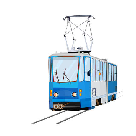 Tram isolated on white background. Blue tram with. City trolley. Cartoon modern public transport. Passengers, people transportation service. Urban trolleybus design element. Design for t shirt print, icon, label, patch or sticker. Stock vector illustration