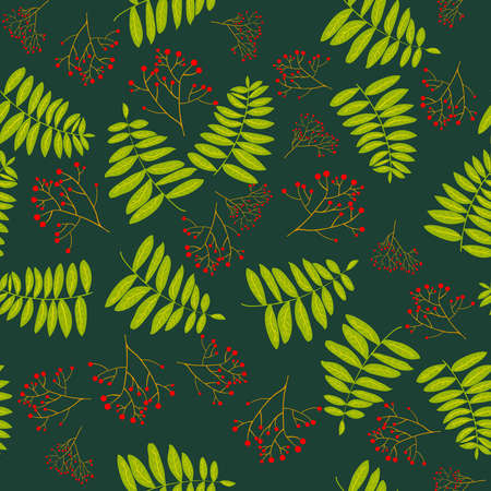 Rowan berry branches and leaves green seamless pattern. Seamless Autumn pattern. Fall colorful floral background. Rich branched rowan.  Fall floral backdrop. Rowan berries with green leaves. Stock vector illustration