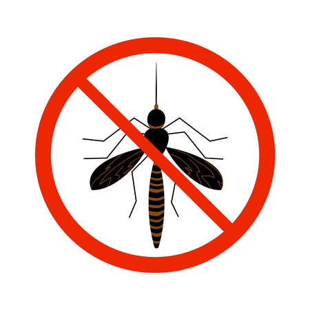 Mosquito sign isolated on white background. Black ant silhouette crossed in red circle. Pest control sign for insecticide. Symbol for informational and institutional sanitation and related care. Stock vector illustration