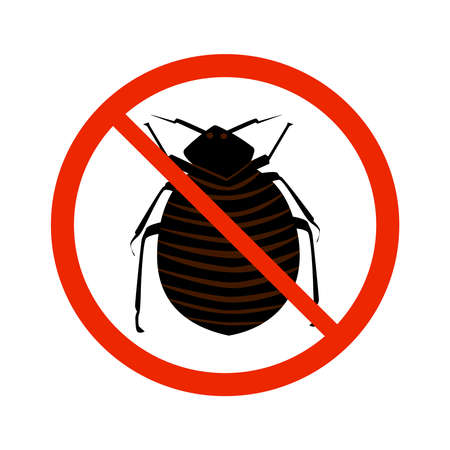 Flea sign isolated on white background. Black ant silhouette crossed in red circle. Pest control sign for insecticide. Symbol for informational and institutional sanitation and related care. Stock vector illustration