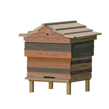 Beehive isolated on white background. Old wooden bee hive. Cartoon illustration of a hive for beekeeping, bee colony housing. Manmade wooden farm beehive. Apiculture icon for web, banner, poster, design. Stock vector