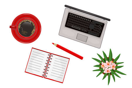 Set of office supplies isolated on white background. Laptop, coffee, notebook, pencil and flower in pot. Concept of business, education or learning. To do list. Back to school. Top view office supplies. Stock vector illustration