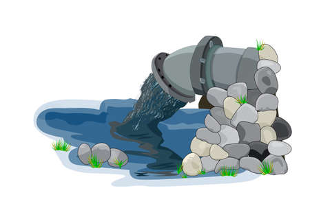 Water pollution from industrial pipe. Wastewater discharge from plant. Plant wastewater emissions into river or sea. Environmental pollution. Dirty toxic effluents pouring out into water. Stock vector illustration Vecteurs