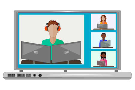 Laptop with online webinar, class, school, college or course. Social distancing or location concept. Keep distance in public society to protect from coronavirus spreading. Party from home via videocall. Stock vector illustration