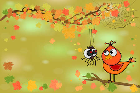 Cute bird and little spider on tree branch. Spider and bird look at each other on autumn background. Happy Halloween or fall poster, greeting card, postcard. Stock vector illustration in cartoon style with copy space.