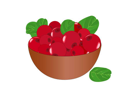 Bowl of delicious juicy lingonberry isolated on white background. Big pile of fresh red lingonberry in the brown bowl. Kitchenware design element. Full plate of beautiful juicy berries. Bountiful harvest. Organic fruit. Stock vector illustration