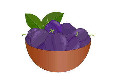 Bowl of delicious juicy plums isolated on white background. Big pile of fresh purple plums in the brown bowl. Kitchenware design element. Full plate of beautiful juicy berries. Bountiful harvest. Organic fruit. Stock vector illustration