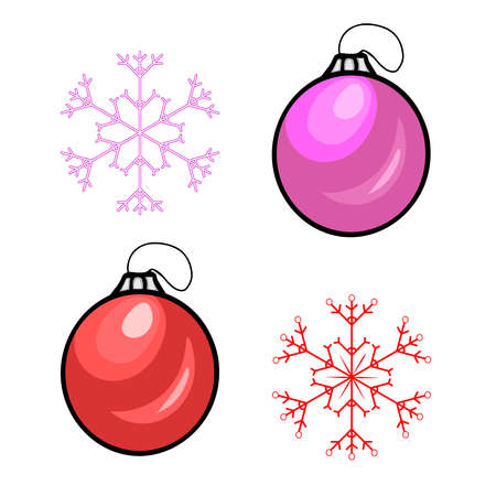 Set christmas balls and snowflakes isolated on white background. Christmas ornament in flat style. Christmas tree toys. Design elements for greeting cards, New Year banners. Stock vector illustration