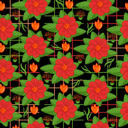 Seamless pattern with red flowers on black background. Decorative seamless floral backdrop. Colorful floral patchwork. Square texture design elements. Unusual flourish print. Stock vector illustration
