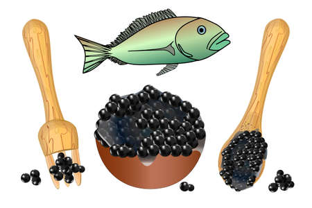 Caviar set isolated on white background. Bowl, fork, spoon with black caviar and fish. Salty food, eating appetizer and meal luxury tasty ingredient. Vegetarian store or restaurant. Stock vector illustration