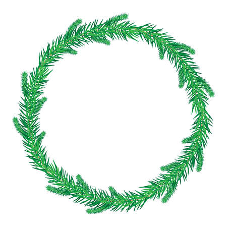 Thin green christmas fir wreath isolated on white background. Christmas wreath without decoration. Round frame of pine branches. Frame for flyer, cover, presentation, brochure, banner, poster. Stock vector illustration