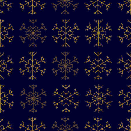 Seamless pattern with gold snowflakes on dark blue background. Cute winter seamless texture with decorative snowflakes for Christmas design, greeting card, wrapping paper, posters. Stock vector illustration Иллюстрация