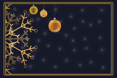 Christmas banner with gold snowflake and bauble balls isolated on dark background. Christmas and New year poster, greeting card, flyer, season sale or label with copy space. Stock vector illustration