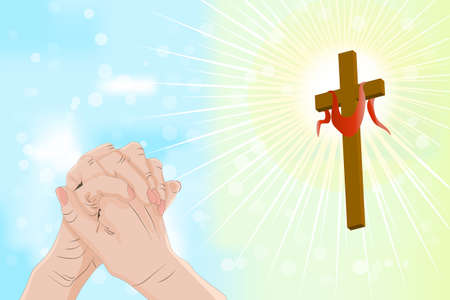 Good Friday and Easter day vector illustration for christian religious occasion with religious symbol cross. Background with praying hands, wooden cross and sun rays in the sky. Holy week catholic tradition. Stock vector illustration