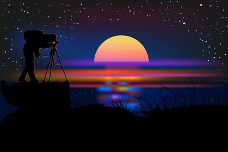 Photographer with camera silhouette on a night background. Photographer at night near sea. Photographer on the hill in twilight time after sunset shooting the starry sky. Stock vector illustration