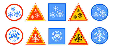 Set of road sign for cold isolated on white background. Snow, cold, or winter ahead sign with snowflake in circle, rectangle and triangle. Slippery road symbol. Traffic signs. Stock vector illustration