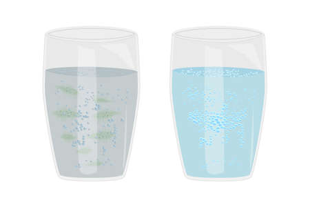Glass with clean and dirty water isolated on white background. Water pollution and infection problem. Pure water from source and contaminated water with sludge, bacteria, microbes. Stock vector illustration