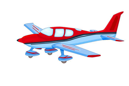 Small airplane isolated on white background. Red and blue personal plane with chassis. Civil aviation airplane with single engine. Light aircraft school. Air tours vehicle. Commercial flights. Stock vector illustration