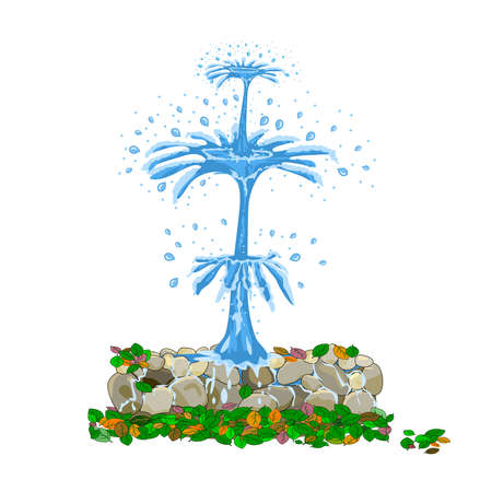 Fountain isolated on white background. Vintage cartoon source with pure water stream, stones and color leaf. Street fountain aspiring upwards. Landscape design of square or park. Stock vector illustration
