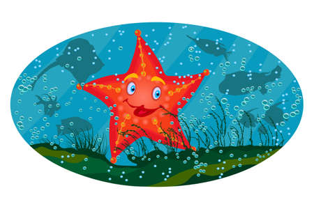 Sea star under the sea on marine background. Cute cartoon red starfish. Starfish sea stars mascot with face, smile and eyes. Sea beach animal character. Happy tropical sea star. Underwater wild life, world. Stock vector illustration