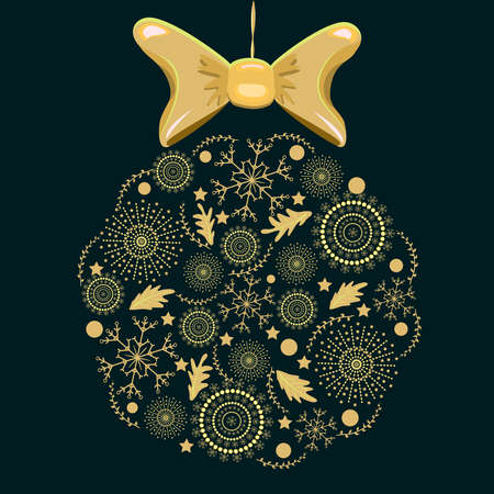 Christmas golden ornament hanging isolated on dark background. Creative Christmas ball with snowflake pattern. Christmas or New year decorative snowflake baubles. Winter holiday decoration. Stock vector illustration